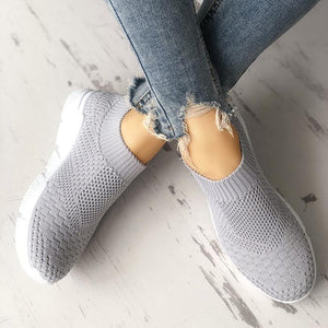 Breathable Elastic Cloth Platform Slip on Sneakers