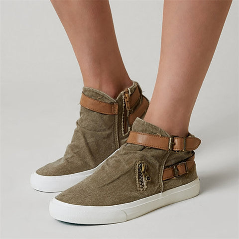 Plus Size Canvas Ankle Boots Flat Heel Buckle Booties with Zipper