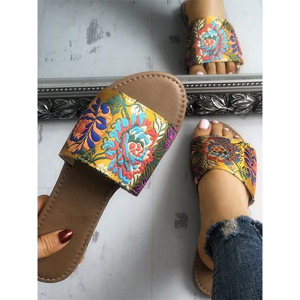 Floral Embroidery Single Strap Open Toe Slipper