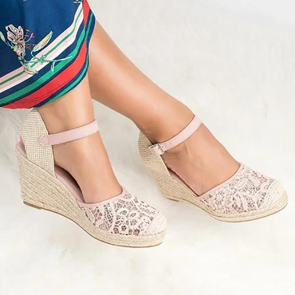 Women Casual Lace Wedge Sandals Hollow Out Adjustable Buckle Shoes