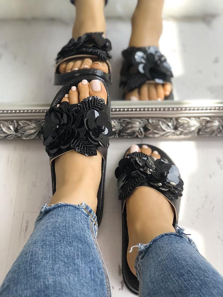 Sequins Embellished Non-Slip Flat Slippers