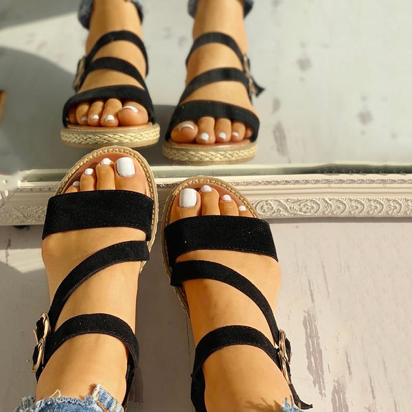 Buckled Strappy Open Toe Flat Sandals
