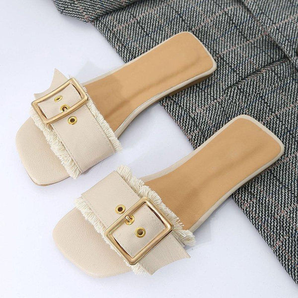 Casual PU Trendy Buckle Flat Slippers