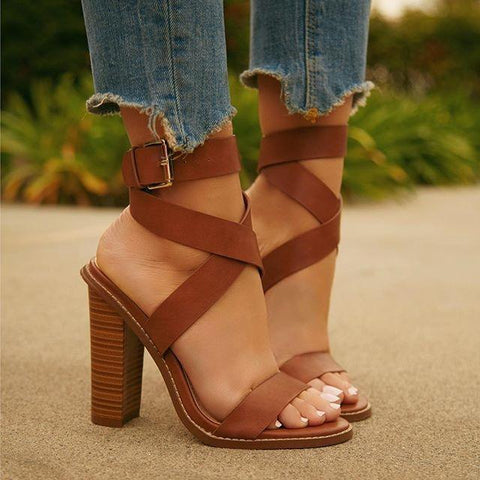 Sweet Open Toe Buckle Shallow Mouth With Thick Sandals