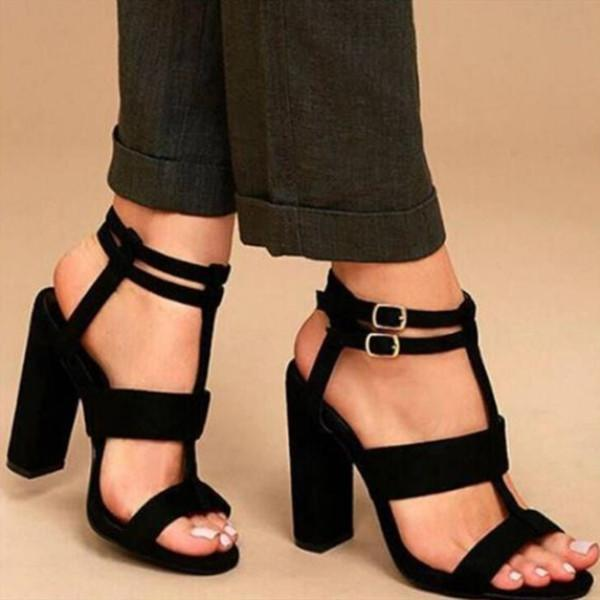 Plain Suede Buckle Hollow Chunky Heel Sandals