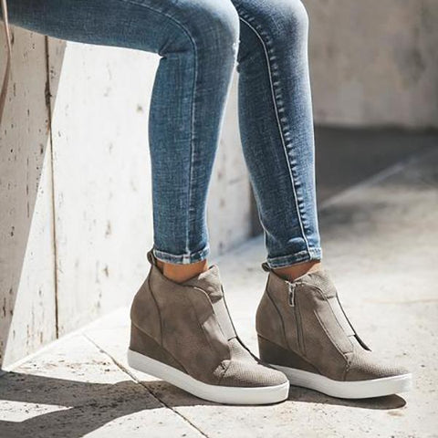 Comfort Zipper Wedge Sneakers Plus Size Wedges with Side Zipper