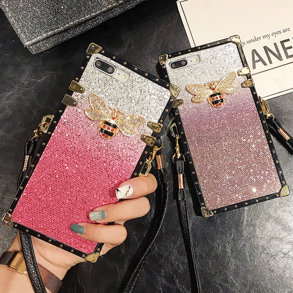 Fashion Luxury Glitter Gradient Rhinestone Bee Lanyard Phone Case