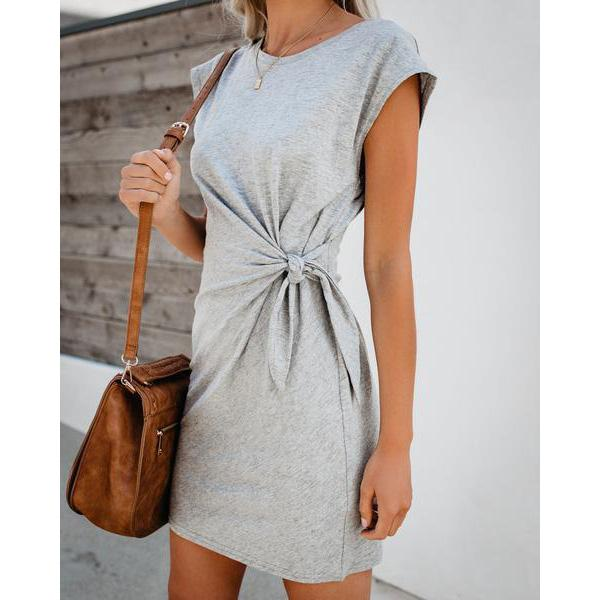 Round Neck  Tie  Loose Short Sleeve Dress