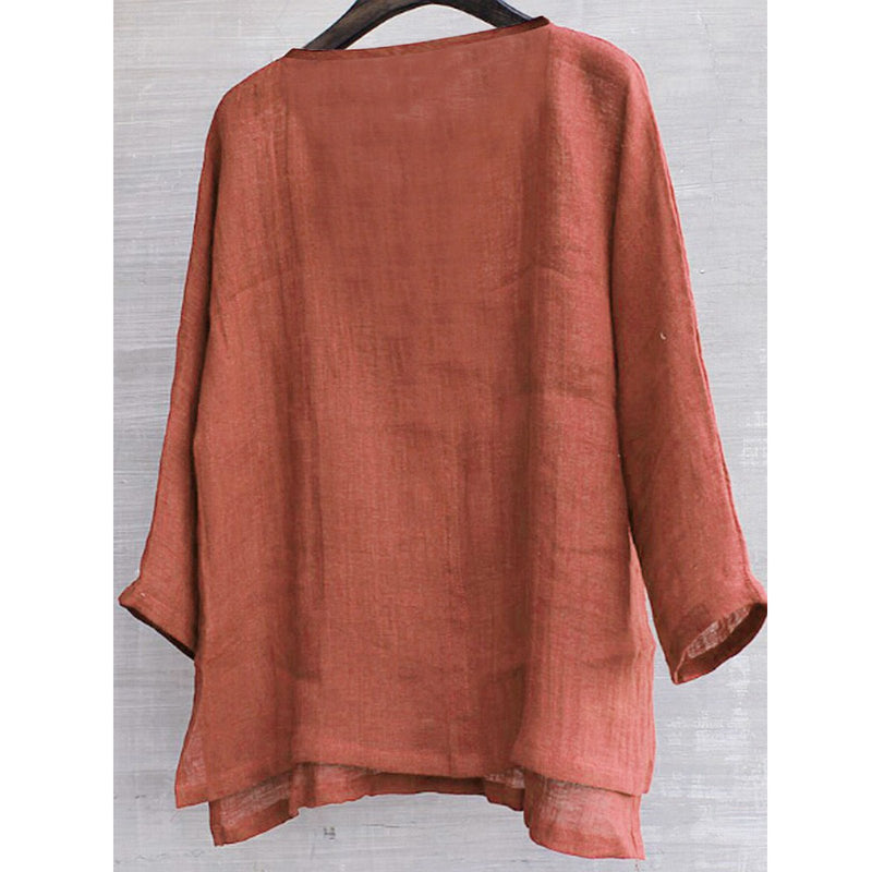 Plus Size V Neck Long Sleeve Solid Blouses