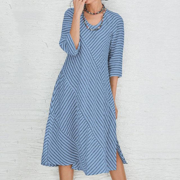 Casual Stripe Short-Sleeve Printed Dress