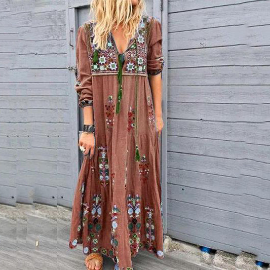Women's Bohemian V Neck Printed Flower Maxi Dresses