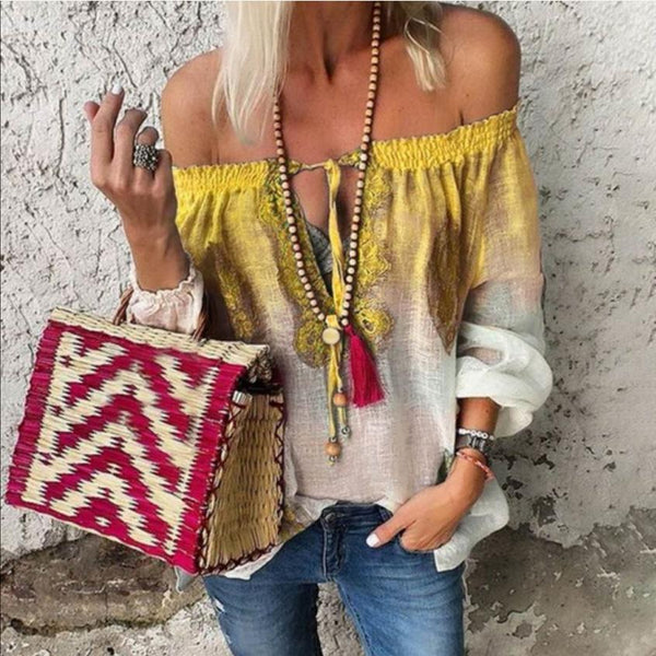 Bohemian Color-block Off Shoulder Blouse