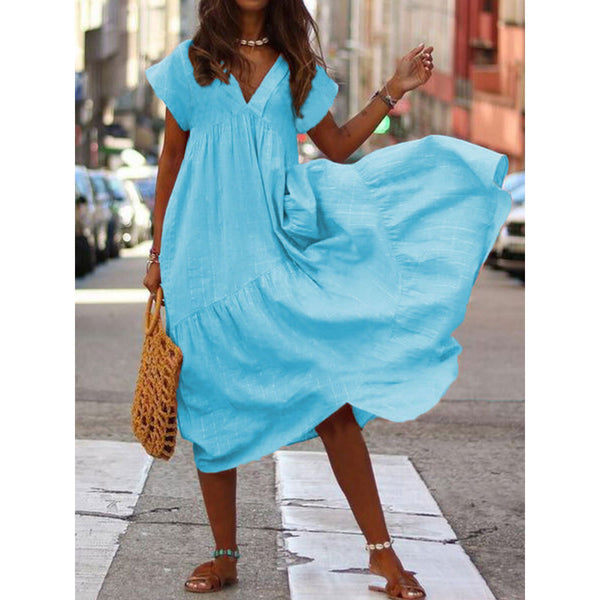 Loose V-Neck Solid Color Dress