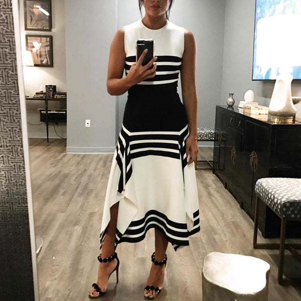 Round Neck ELegant Striped Sleeveless Dress