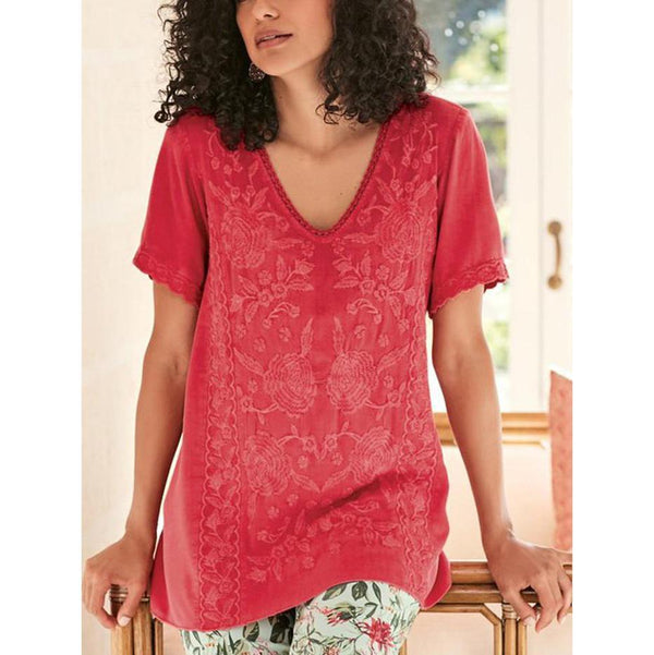 Print Lace Stitching Short Sleeve T-shirts