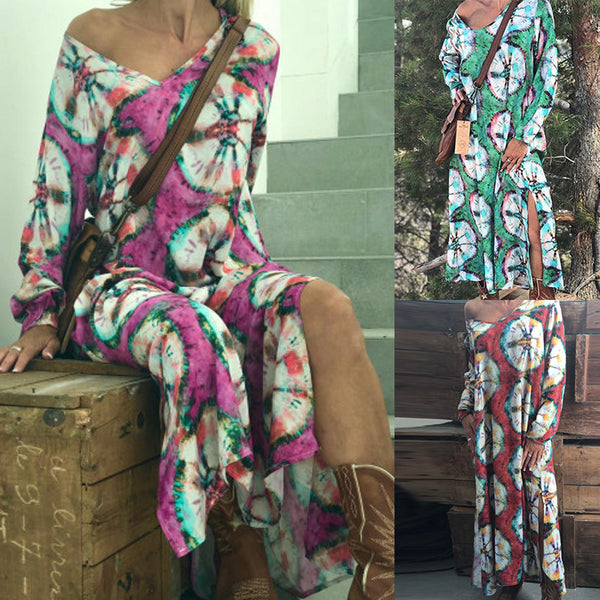 Women Long Sleeve Loose Large Size Floral Printed Dress
