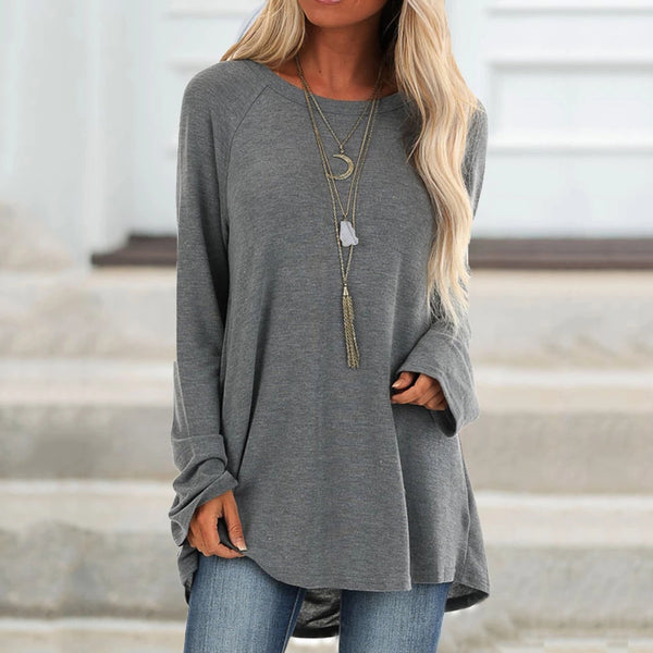Casual Crew Neck Solid Blouses