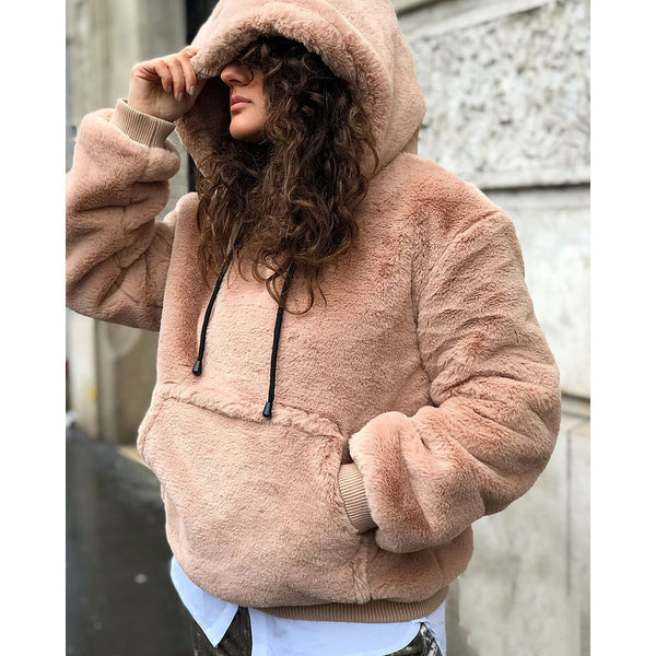 Plain Long Sleeve Kangaroo Pocket Warm Fluffy Fleece Hoodie