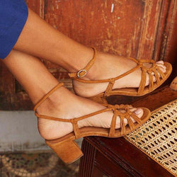 Vintage Middle Heel Across Strap Sandals