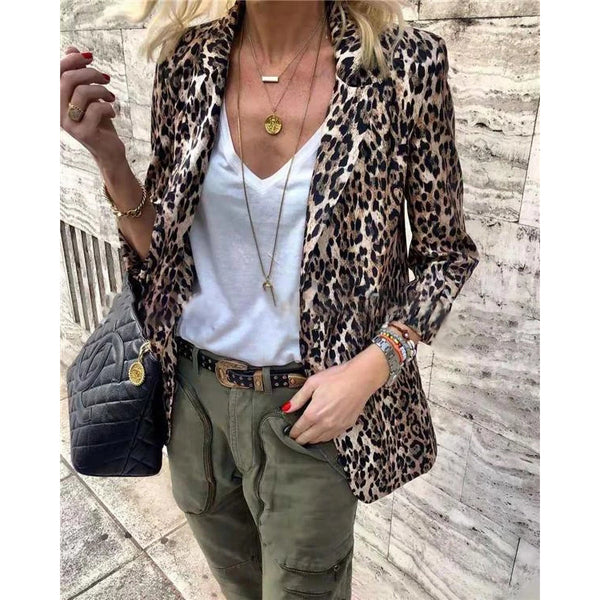 Leopard Fashion Cardigan Casual Daily Overcoat Jacket