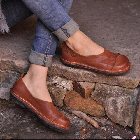 Women Soft Pu Flat Heel Loafers