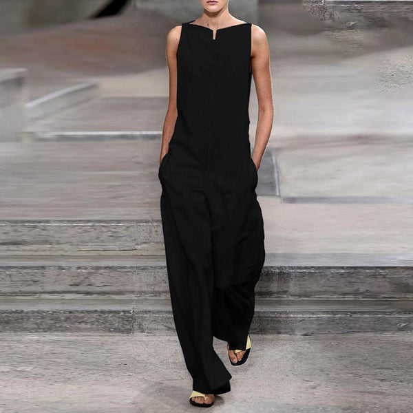 Women Fashion Plain Slessveless Jumpsuits