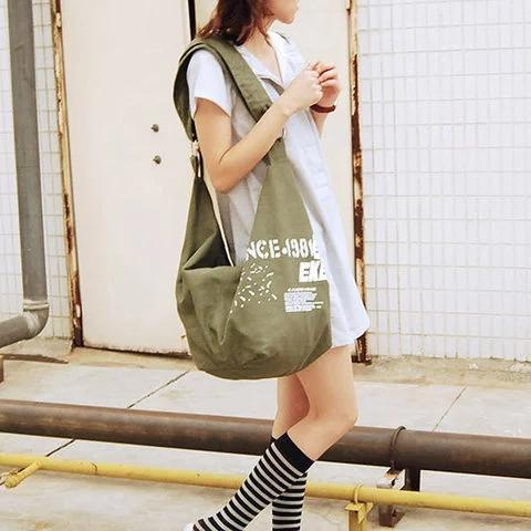 Casual Irregular Canvas Large Capacity Shoulder Bag Crossbody Bag
