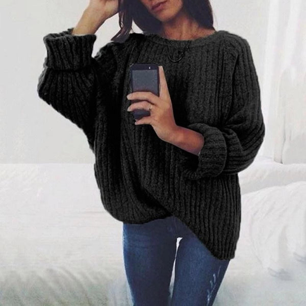 Pure Color Long Sleeve Regular Loose Sweater