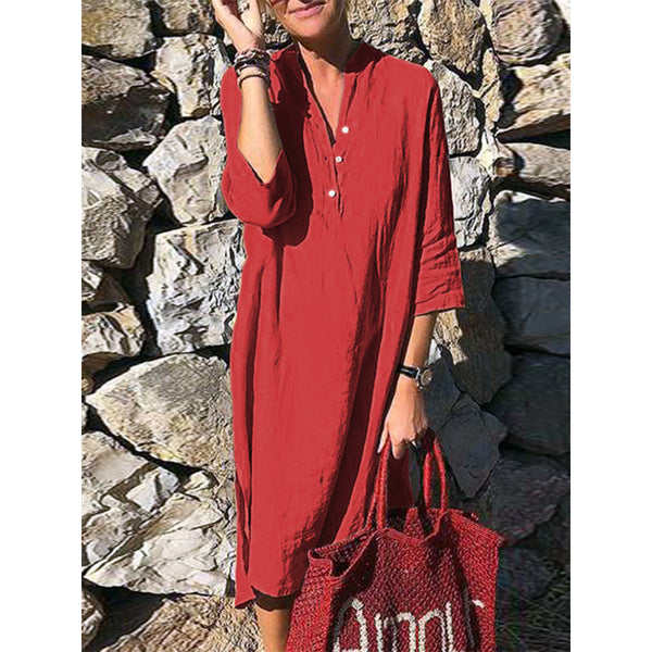 Casual Button V Neck 3/4 Sleeve Plus Size Dress