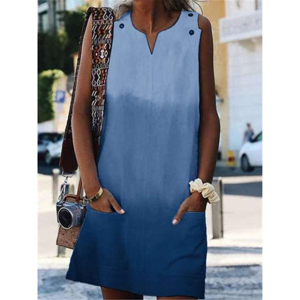 New V-Neck Gradient Sleeveless Pocket Loose Casual Dress