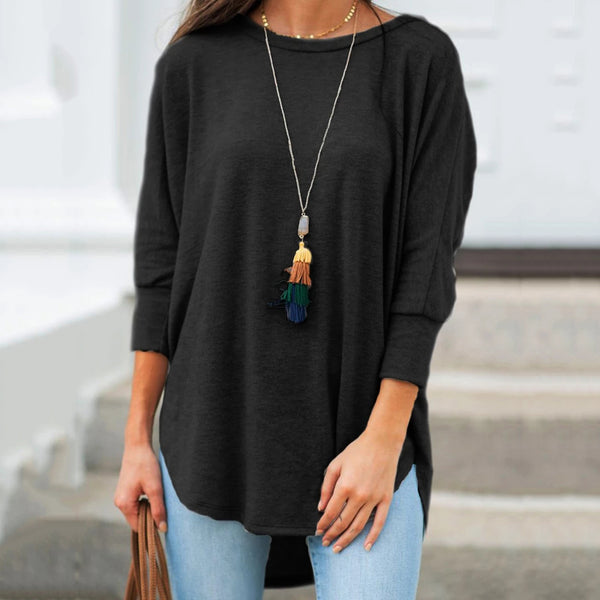 Loose Casual Round Neck Cropped Sleeve Hem Irregular Solid Color Blouses