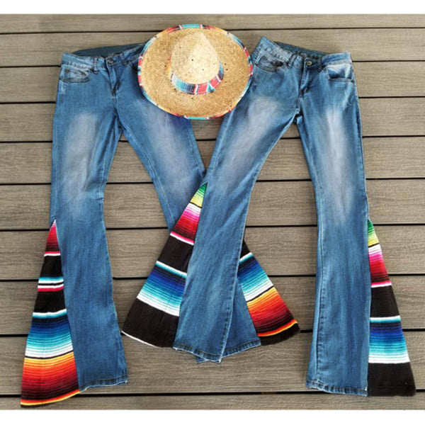 Women Long Loose Stripe Jeans Fashion Sexy Stretchy Patchwork Rainbow Flared Pants