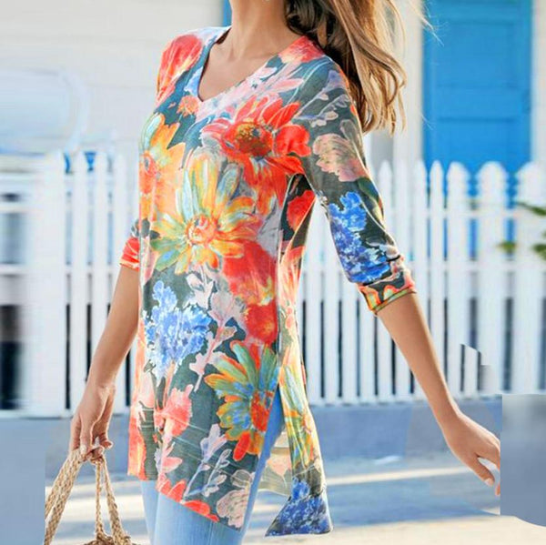 Casual Floral Print 3/4 Sleeve Blouses