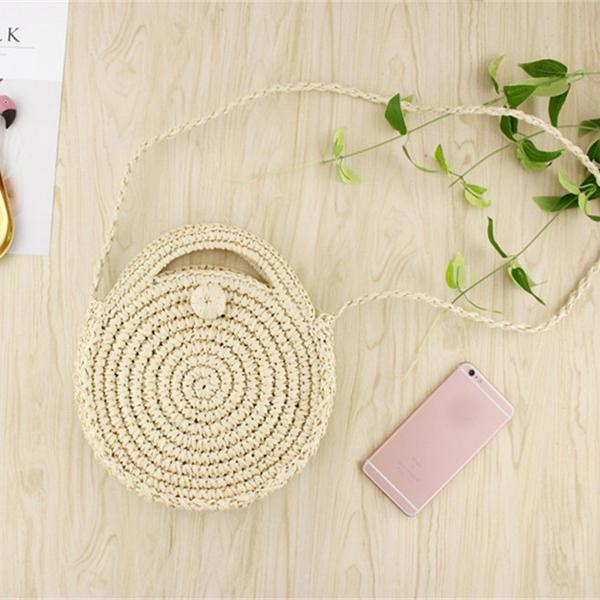 Women Holiday Hand Woven Basket Round Retro Rattan Straw Crossbody Beach Bag