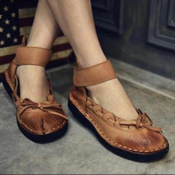 Vintage Solid Color Flat Sandals