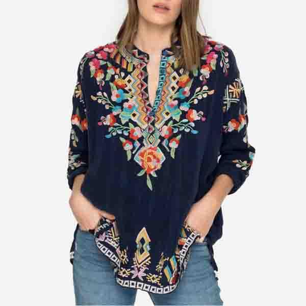Bohemian Print V-neck Long Sleeve Blouses
