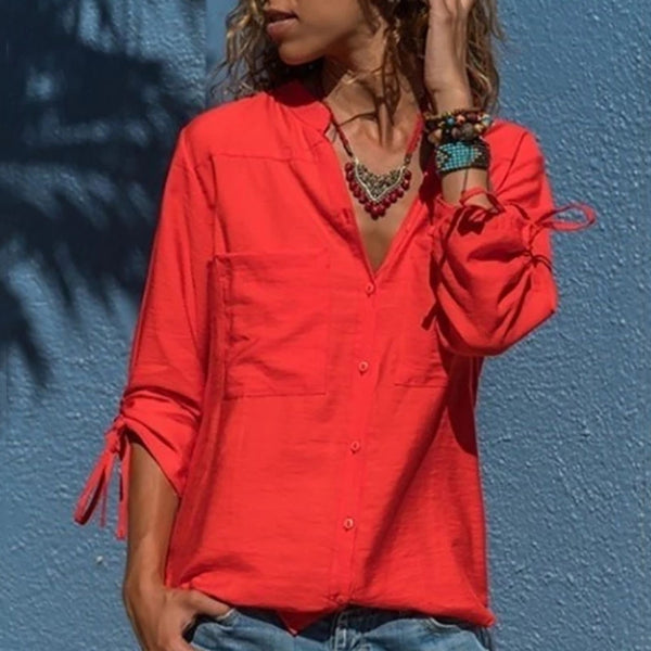 Casual V Neck Patch Pocket Pure Color Blouse