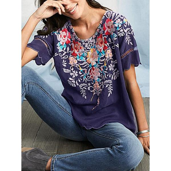 Women's Summer Round Neck Printed Blouse