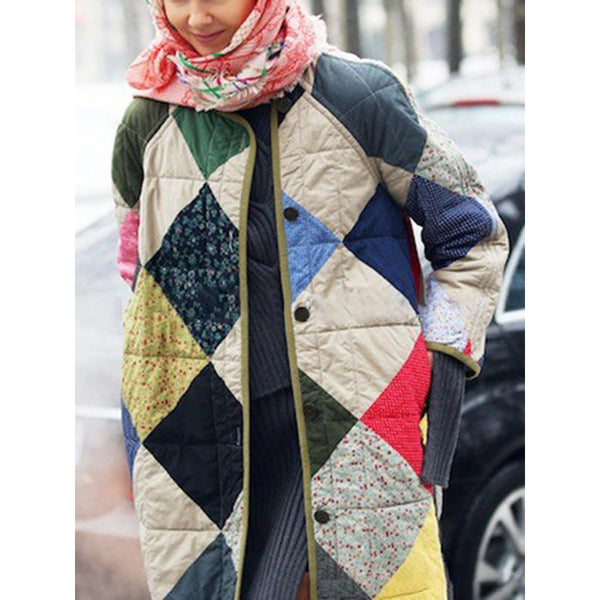 Casual Geometrical Button Long Sleeve Quilted Coat
