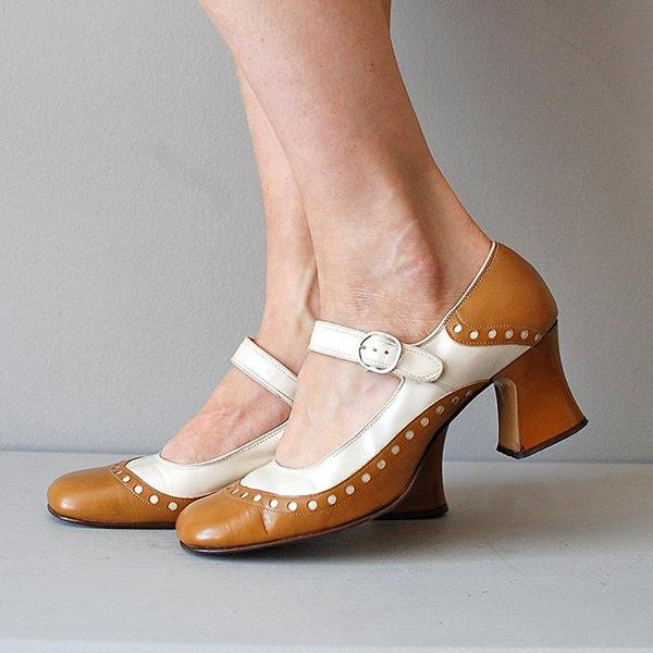 Low Heel Closed Toe Adjustable Buckle Shoes