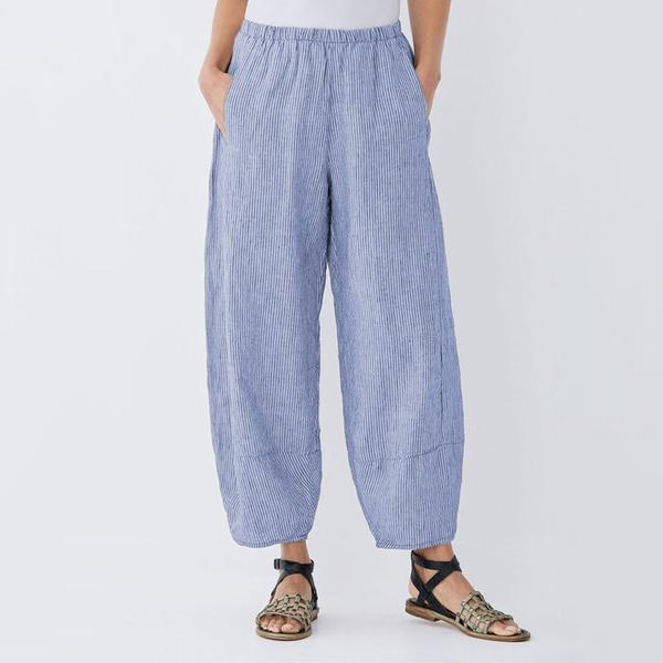 Loose Stripe Elastic Waist Pants