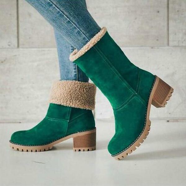 Casual Square Heel Short Plush Snow Boots
