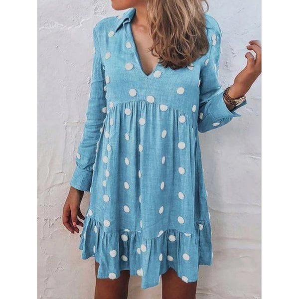 Long Sleeve Print Above Knee Pullover Polka Dots Dress