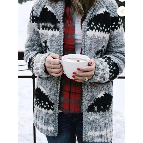 Long Sleeve Print Stand Collar Casual Cardigan