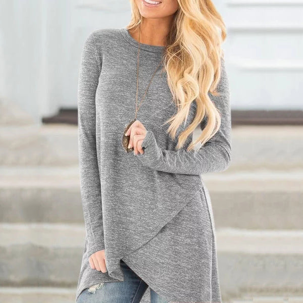 Long Sleeve Front Cross Blouses
