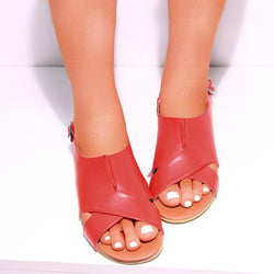 Fish Mouth Low Heel Sandals