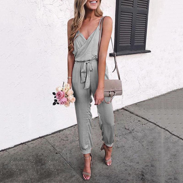 Casual Solid Color Belt Jumpsuit