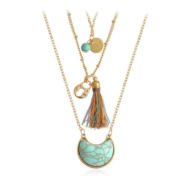 Multilayer Bohemian Tassel and Stone Necklace Set