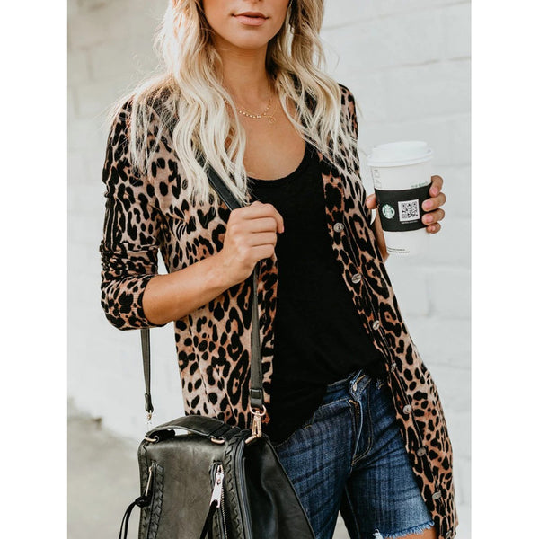 Leopard Print Buttoned Casual Cardigans