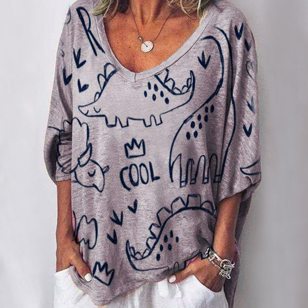 Long Sleeve V Neck Casual Animal Printed Blouses